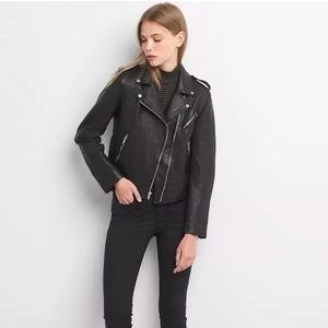 Gap side tide black moto biker genuine leather M